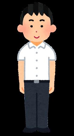 学ランを着た男子学生のイラスト(夏服・学生服)