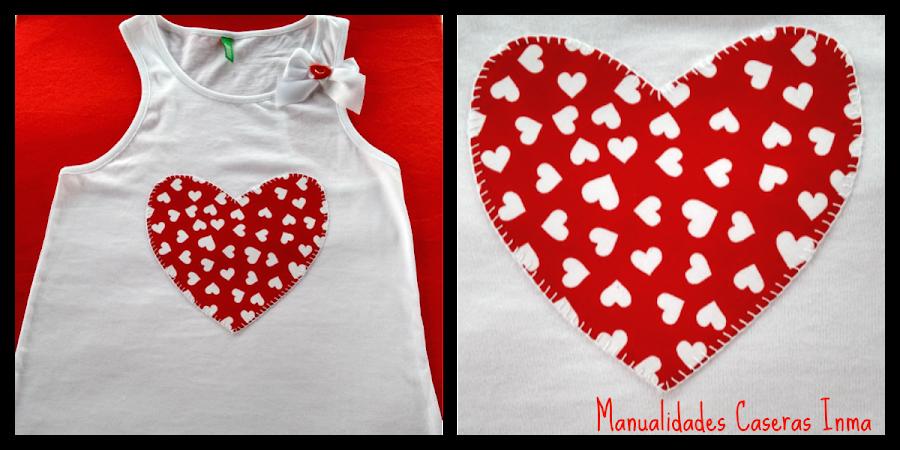 Manualidades Caseras Fáciles Inma Camiseta de corazón rojo para niña