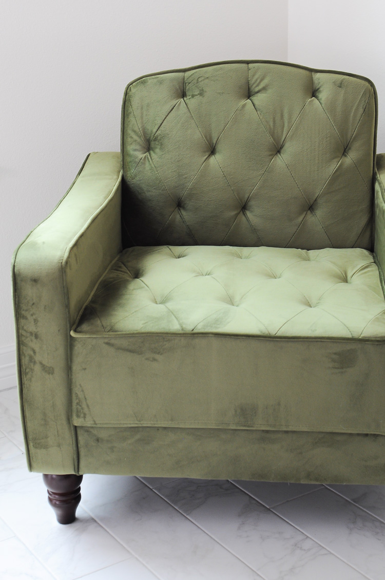Olive green vintage tufted armchair by The Novogratz for DHP Furniture.