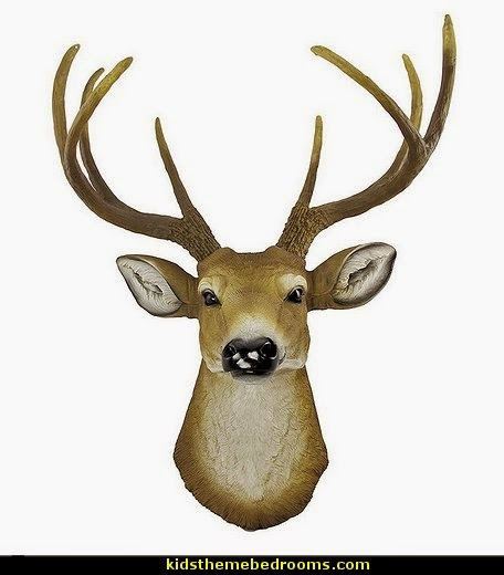 Buck Deer Head Bust Wall Hanging log cabin - rustic style decorating - Cabin decor - bear decor - camping in the northwoods style  - Antler decor - log cabin boys theme bedroom - Cabin Bedding - Rustic Bedding - rustic furniture - cedar beds - log beds - LOG CABIN DECORATING IDEAS - Swiss chalet ski lodge murals - camping room decor