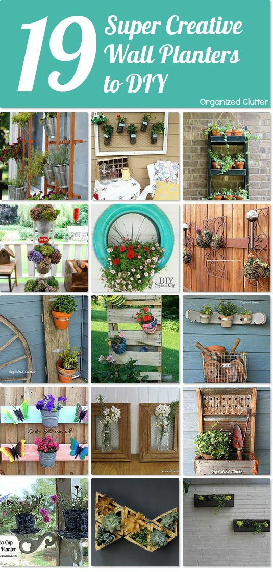 Creative Repurposed DIY Wall Planters www.organizedclutter.net