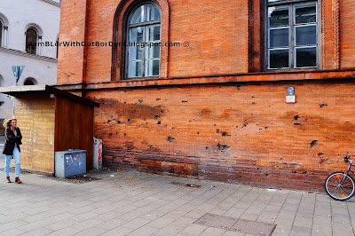 Wall that riddled with bullet holes, Munich, Germany