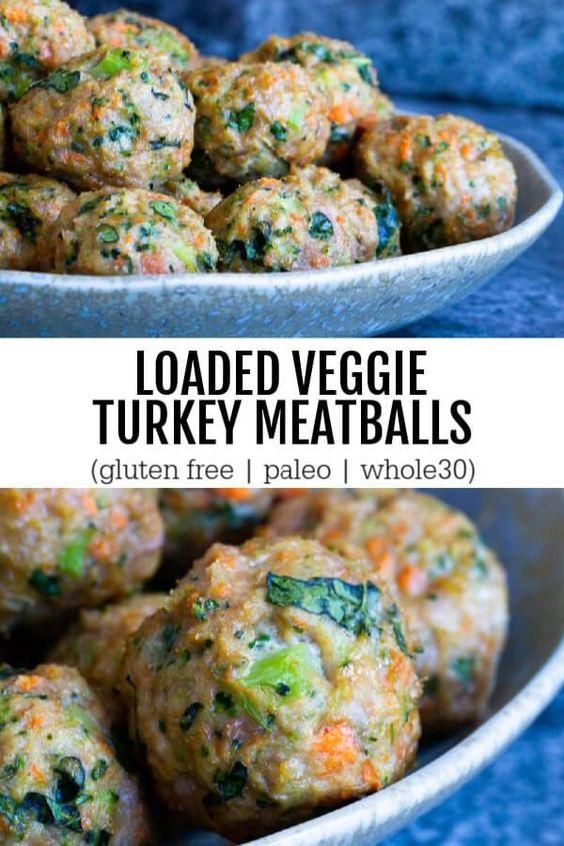 Loaded Veggie Turkey Meatballs