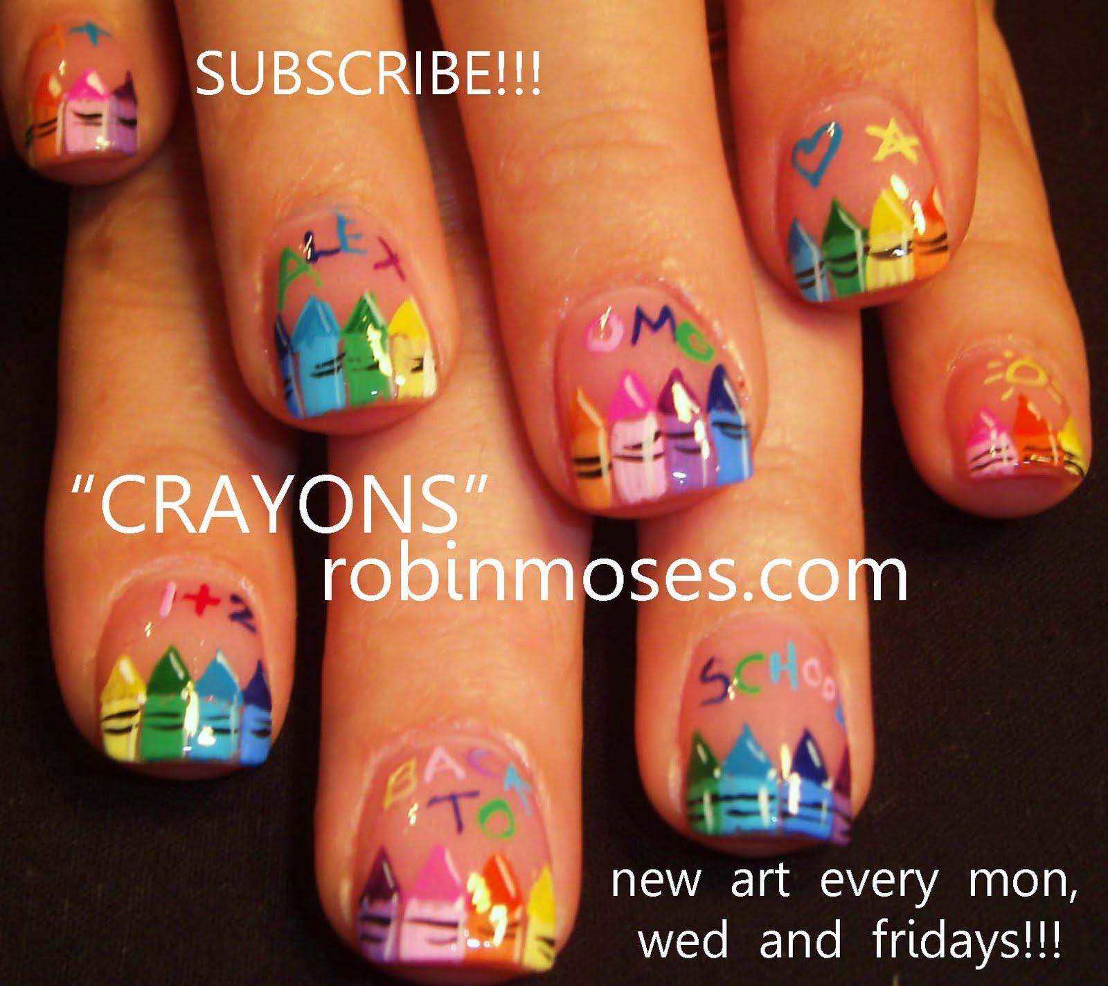 Nail Art By Robin Moses Back To School Nail Crayon Nail Crayola Nails Rainbow Crayon Nail