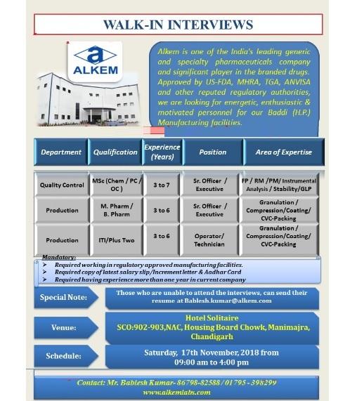 Alkem Laboratories Ltd Walk In Interview For QC & Production at 17 November