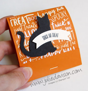 Stampin' Up! Halloween Black Cat Matchbook Treat ~ www.juliedavison.com