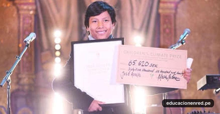 JOSÉ ADOLFO QUISOCALA CONDORI: Banquero peruano fue premiado al ganar «Premio Climático Infantil 2018» en Estocolmo - Suecia