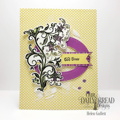 Our Daily Bread Designs Stamp Set: A Happy Hello, Our Daily Bread Designs Paper Collection: Plum Pizzaz, Our Daily Bread Designs Custom Dies: Stitched Ovals, Pennant Flags, Double Stitched Pennant Flags