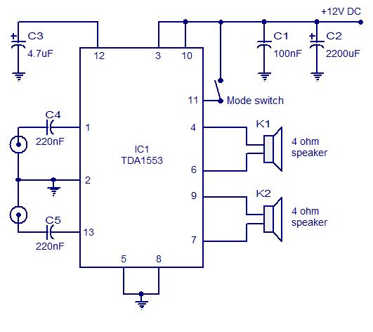 TDA1553 Car Stereo Amplifier Circuit | audio wiring diagram