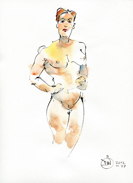 5 minute watercolour nude study by David Meldrum