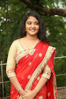 Akshara in Red Saree Golden Choli at LV Movie Makers Production No 1 Movie Opening ~  Exclusive 058.JPG