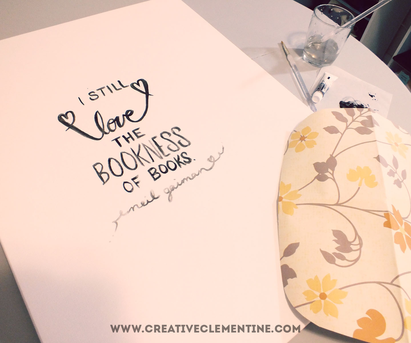 Easy hand painted DIY stripey quote art via creativeclementine.com. Step 1: write your quote.