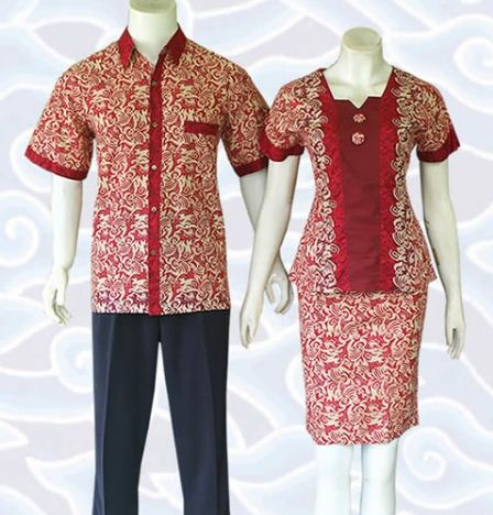 contoh model baju batik couple pesta