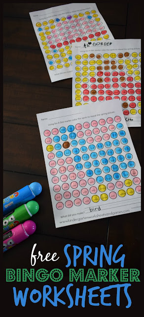 FREE Spring Bingo Marker Worksheets - these preschool, kindergarten, and first grade worksheets are such a fun way for kids to practice color words! What a great center, extra practice, spring break learning, and more for kids. #springworksheets #bingomarkerworksheets #colorwordsworksheets #freeworksheets #worksheetsforkids #kindergartenworksheets #preschoolworskheets #kindergartenworksheetsandgames