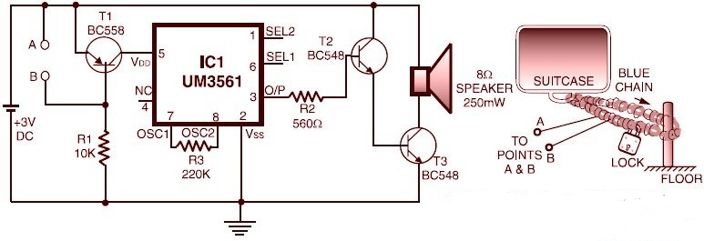 transistor t1 allows supply to the sound generator chip when the base  current begins flowing through it  when the wire (thin enameled copper wire  of 30 to