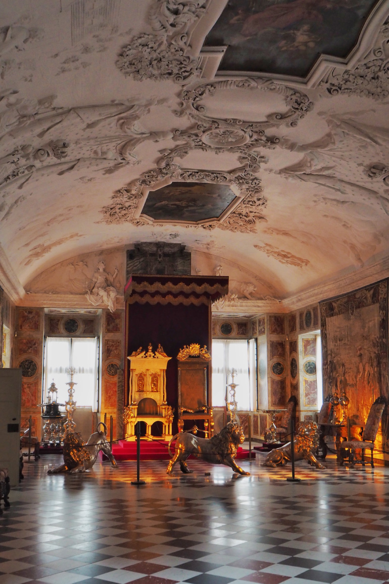 Salle du trône du château de Rosenborg à Copenhague