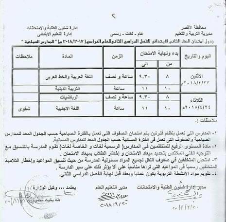 جدول امتحانات الصف الثاني الابتدائي الترم الثاني 2018 محافظة الاقصر