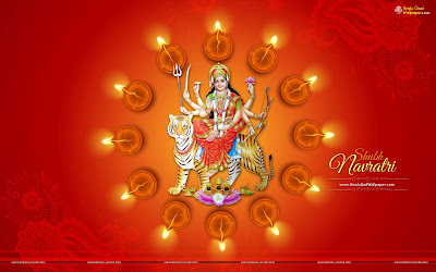 Navratri Wallpaper with Message