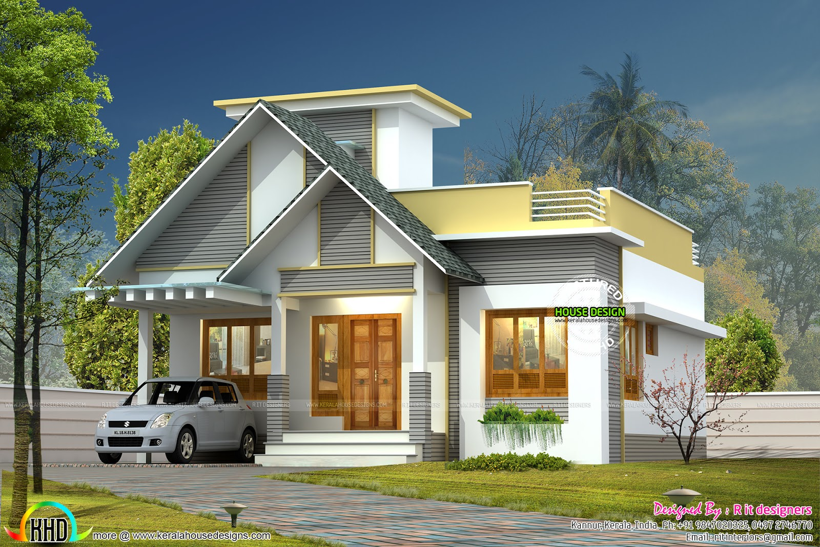 999 sq ft single floor home kerala home design and floor for Single floor kerala house plans