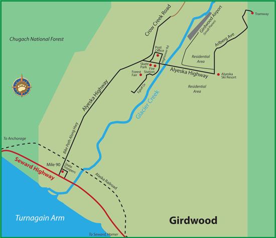Maps Of Alaska Roads By Bearfoot Guides Map Of Girdwood Alaska