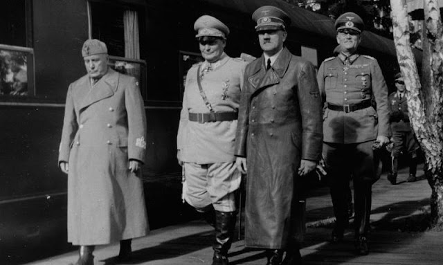 Hitler and Mussolini and Goering, 30 August 1941 worldwartwo.filminspector.com