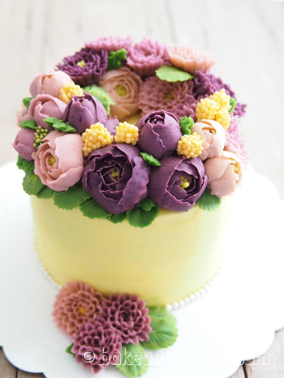Korean Style Buttercream Flowers Cake - 9 - BAKE WITH PAWS