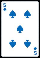トランプのスペードのイラスト(数字・5)