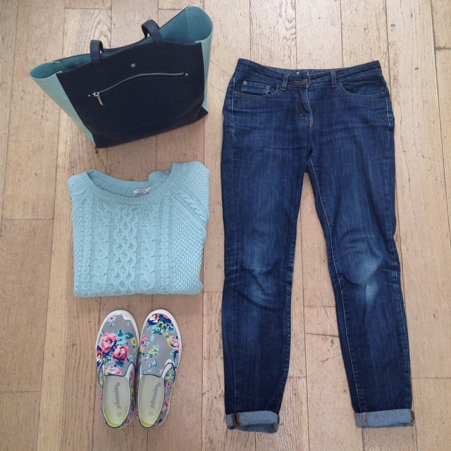 What Lizzy Loves. Mint cable jumper, jeans and floral pull-on trainers
