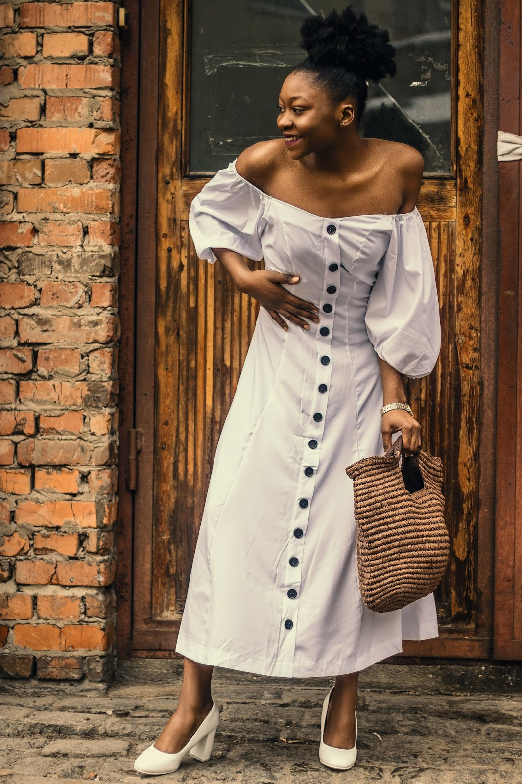 3adfab94702 You can purchase this cheap White Off Shoulder Puff Sleeve Button Down  Front Plain Midi Dress. It features a flowy A-line flare skirt and a button  front ...