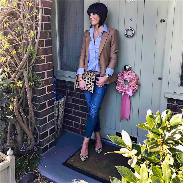 My Midlife fashion, baukjen westbury blazer, baukjen thompson striped shirt, baukjen the boyfriend jeans, next leopard print court shoes, village england Thurlaston leopard print clutch bag, massimo dutti slim leather tan belt
