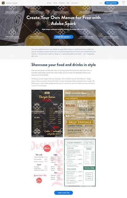 Crear menú para restaurantes gratis con Adobe Spark