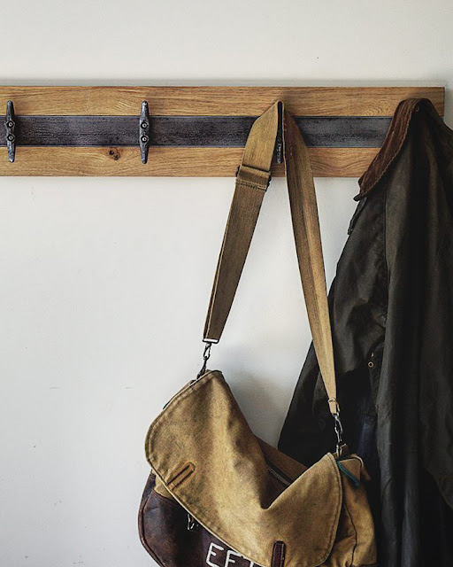Rustic oak coat rack with industrial hardware
