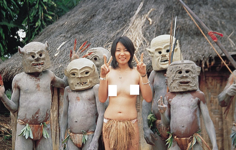 Crazy wild japanese babe with tribal guys