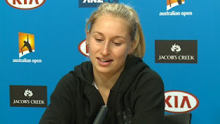 Daria answering some few questions to the press after her big win in AO
