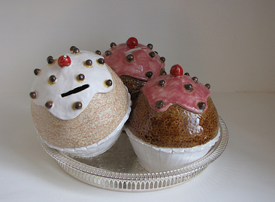 money boxes shaped like cupcakes