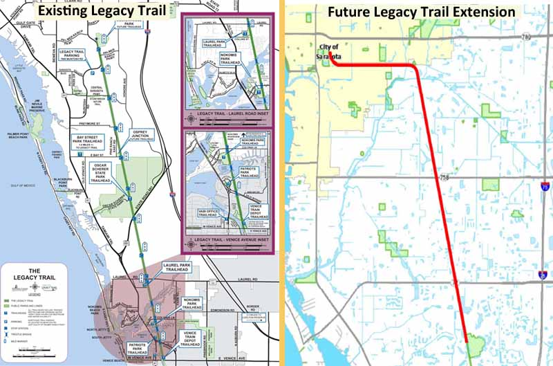 Two maps of Sarasota Florida highlighting bicycle trail