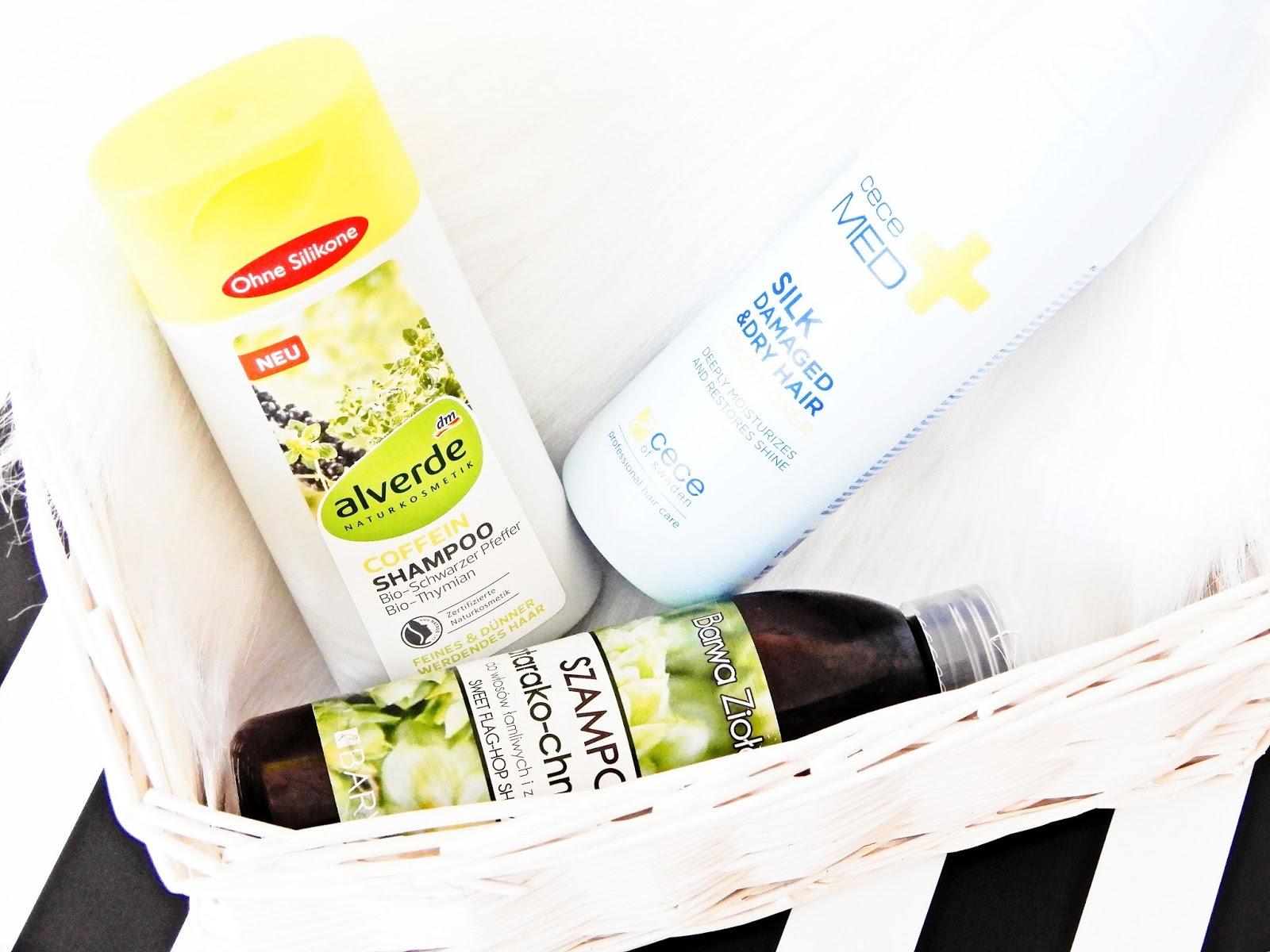 kofeinowy szampon z Alverde, szampon tatarako-chmielowy z Barwa, odżywka z jedwabiem Cece Med do włosów suchych i zniszczonych,