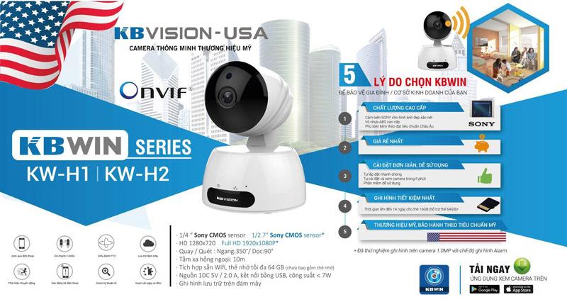 Camera KBWIN KW-H2 Wifi không dây HD 1080P, hồng ngoại 10m, âm thanh 2 chiều, MicroSD, Onvif, Cloud
