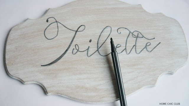 DIY French Country/Shabby Chic Bathroom Sign