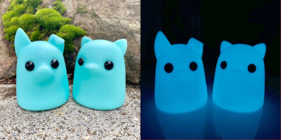 Tiny Ghost Puppy & Kitty Blue Glow in the Dark Edition Vinyl Figures by Reis O'Brien x Bimtoy x Bottleneck Gallery