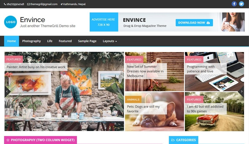 Envince Magazine Drag & Drop WordPress Theme