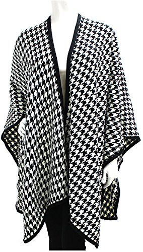 Houndstooth pattern poncho wrap