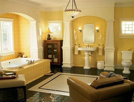 Baño amarillo marrón