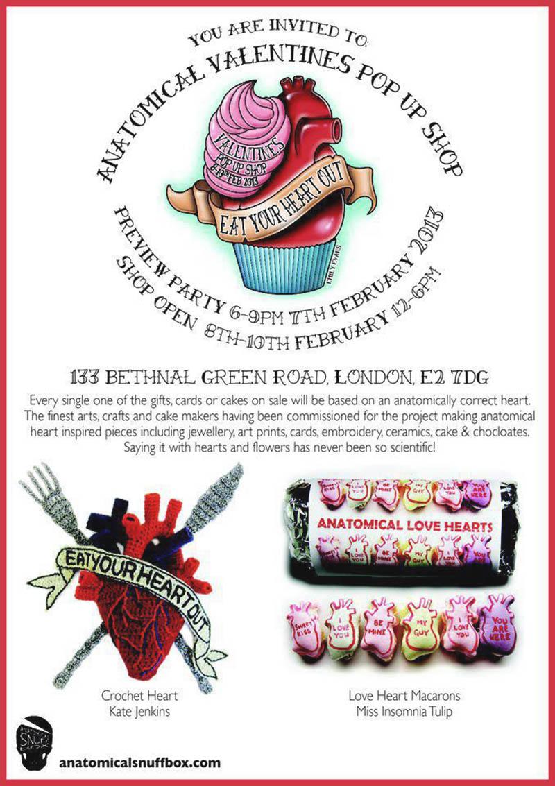anatomical valentines pop up show invite
