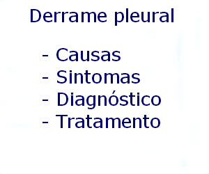 Derrame pleural causas sintomas diagnóstico tratamento prevenção riscos complicações