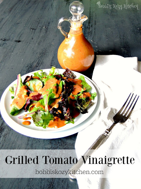 Grilled Tomato Vinaigrette - Bring that touch of smoke to this amazing vinaigrette by cooking your tomatoes on the grill. From www.bobbiskozykitchen.com
