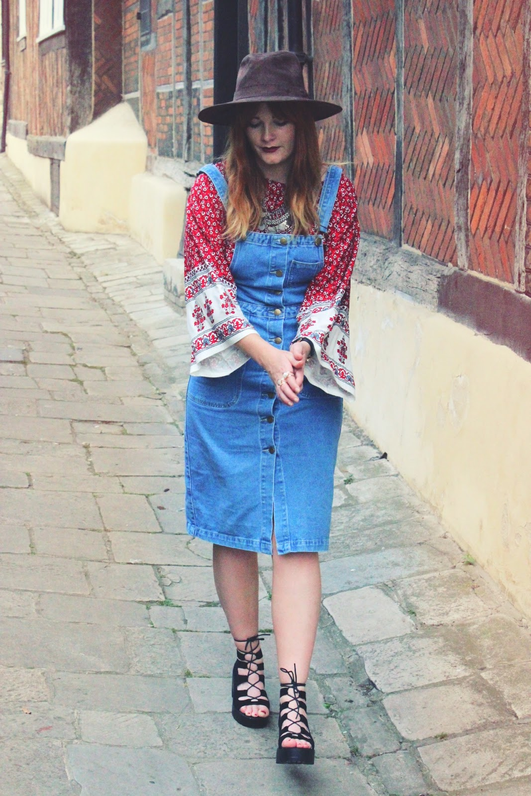Denim Pinafore from Boohoo