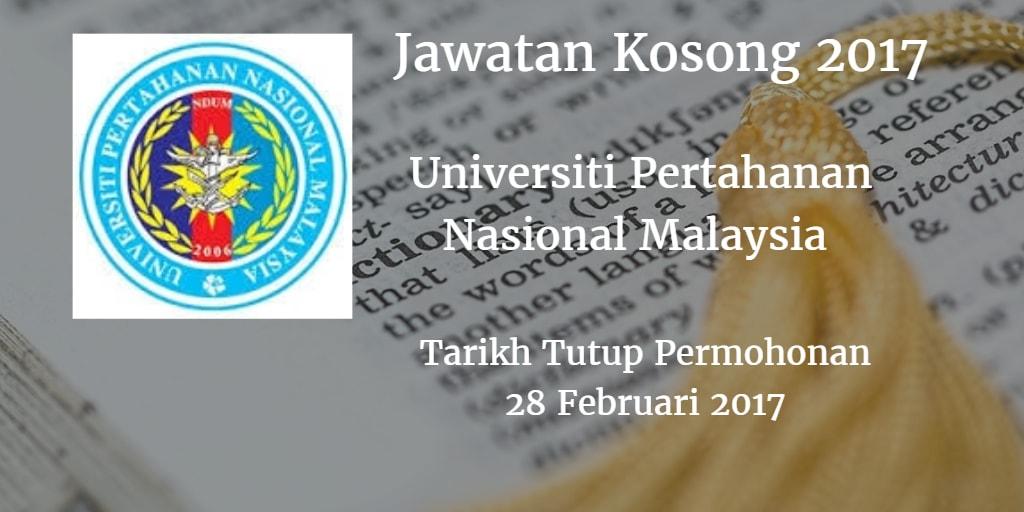 Jawatan Kosong UPNM 28 Februari 2017