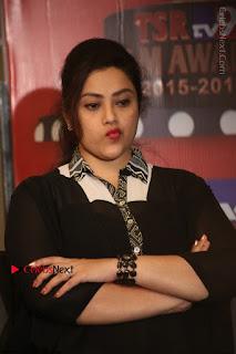 Tamil Actress Meena Latest Stills in Black Dress at TSR TV9 Awards Press Meet  0137.JPG