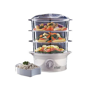 Hot 'n' steamy, Russell Hobbs 21140 Three Tier Food Steamer, 9 L, 800 W White £22.68